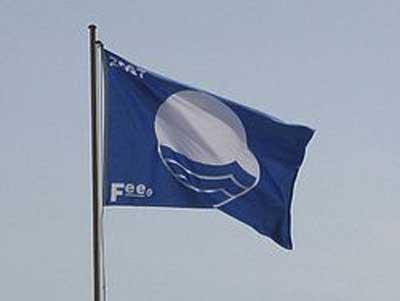 Blått flagg strand