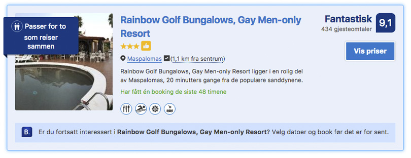 Rainbow Golf Bungalows gay hotell